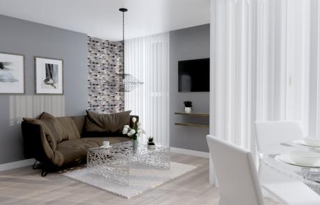 Vizualizácia bytu 2 izbový byt, obývačka, jedáleň v Diamon Residence | Diamonresidence.sk