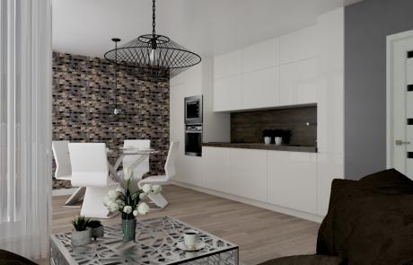 Vizualizácia bytu 3 izbový byt, kuchyňa v Diamon Residence | Diamonresidence.sk