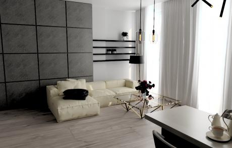 Vizualizácia bytu 3 izbový byt, obývačka v Diamon Residence | Diamonresidence.sk