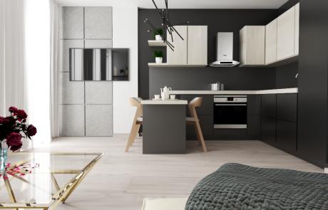 Vizualizácia bytu 2 izbový byt, kuchyňa, jedáleň v Diamon Residence | Diamonresidence.sk