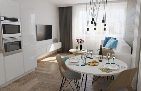 Vizualizácia 1-izbového bytu B42 - moderná obývačka | Urban-park.sk - cenovo dostupné bývanie v Trenčíne