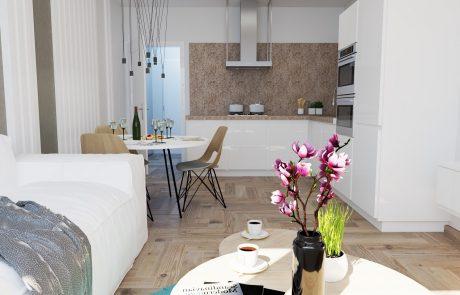 Vizualizácia 1-izbového bytu B42 - kuchyňa a obývačka | Urban-park.sk - cenovo dostupné bývanie v Trenčíne
