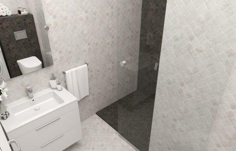 Vizualizácia 1-izbového bytu B42 - kúpeľňa | Urban-park.sk - cenovo dostupné bývanie v Trenčíne