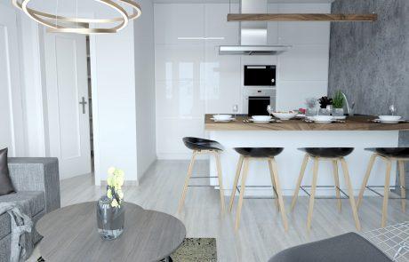 Vizualizácia 2-izbového bytu B48 - moderná kuchyňa a obývačka | Urban-park.sk - ideálne mestské bývanie v Trenčíne