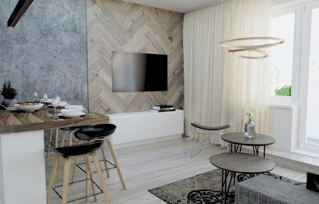 Vizualizácia 2-izbového bytu B48 - obývačka a kuchynský kút | Urban-park.sk - ideálne mestské bývanie v Trenčíne