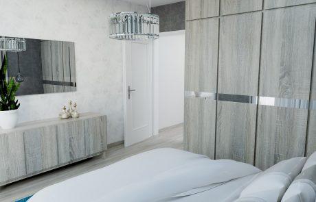 Vizualizácia 2-izbového bytu B48 - moderná spálňa | Urban-park.sk - ideálne mestské bývanie v Trenčíne