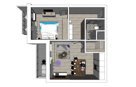 Vizualizácia 2-izbového bytu B48 - celkový pohľad | Urban-park.sk - ideálne meststké bývanie v Trenčíne