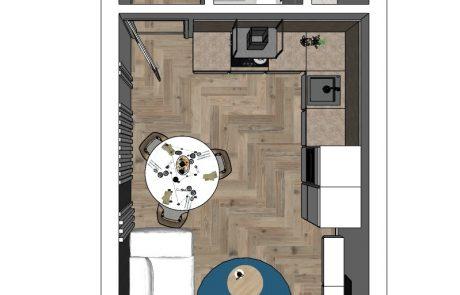 Vizualizácia 1-izbového bytu B42 - celkový pohľad | Urban-park.sk - cenovo dostupné bývanie v Trenčíne