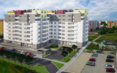 Vizualizácia UrbanPark Východná - južný pohľad zo sídliska | Urban-park.sk - ideálne mestské bývanie v Trenčíne