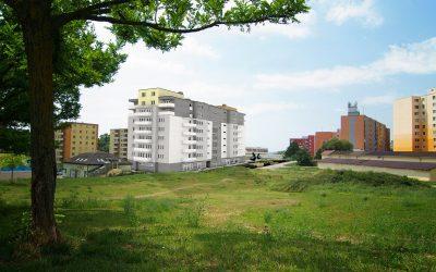 Vizualizácia UrbanPark Východná - východný pohľad zo sídliska | Urban-park.sk - ideálne mestské bývanie v Trenčíne
